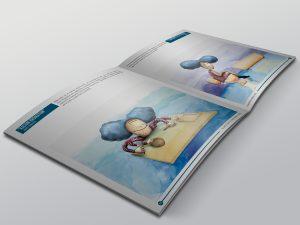 Ilustración de libro. Ilustración digital con fondo de acuarela.Remedios homeopatía.