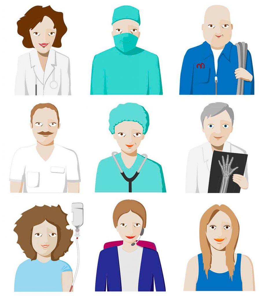 Ilustración vectorial. Personal hospitalario.